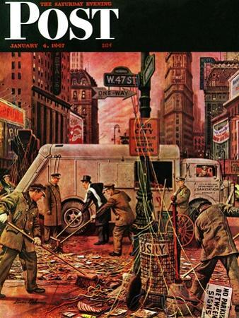 """""""Times Square Cleanup,"""" Saturday Evening Post Cover, January 4, 1947"""