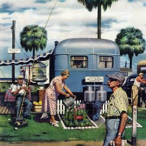 """""""Trailer Park Garden"""", February 2, 1952 by Stevan Dohanos"""