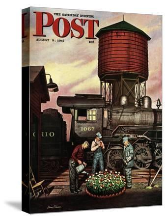"""Trainyard Flower Garden,"" Saturday Evening Post Cover, August 9, 1947"