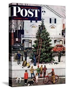 """""""Tree in Town Square,"""" Saturday Evening Post Cover, December 4, 1948 by Stevan Dohanos"""