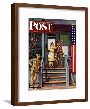 """""""Two Generations of Vets,"""" Saturday Evening Post Cover, July 5, 1947"""