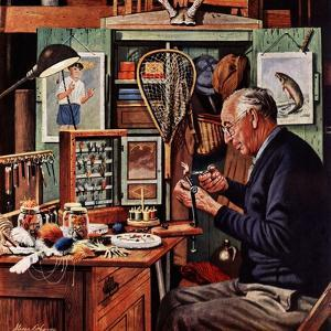 """Tying Flies"", March 4, 1950 by Stevan Dohanos"