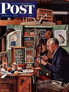 """""""Tying Flies"""" Saturday Evening Post Cover, March 4, 1950 by Stevan Dohanos"""