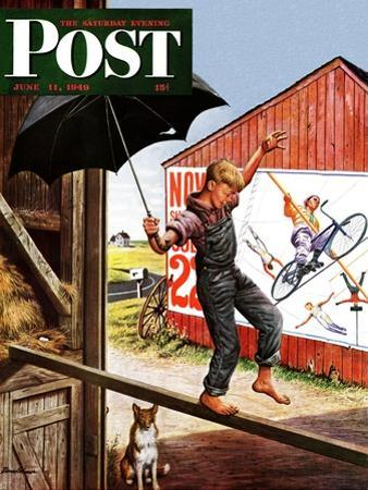 """""""Walking the Tightrope,"""" Saturday Evening Post Cover, June 11, 1949"""