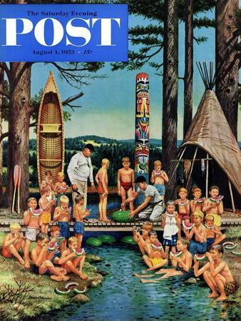 """""""Watermelon at Camp"""" Saturday Evening Post Cover, August 1, 1953"""