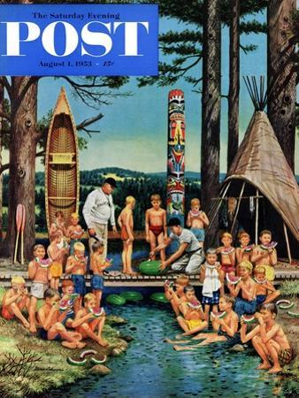 """""""Watermelon at Camp"""" Saturday Evening Post Cover, August 1, 1953 by Stevan Dohanos"""