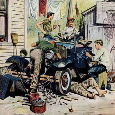 """Working on the Jalopy"", May 20, 1950 by Stevan Dohanos"