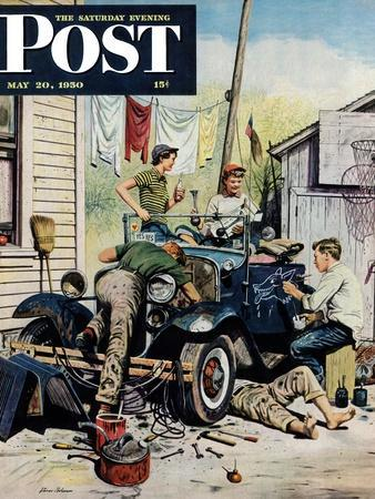 """""""Working on the Jalopy"""" Saturday Evening Post Cover, May 20, 1950"""