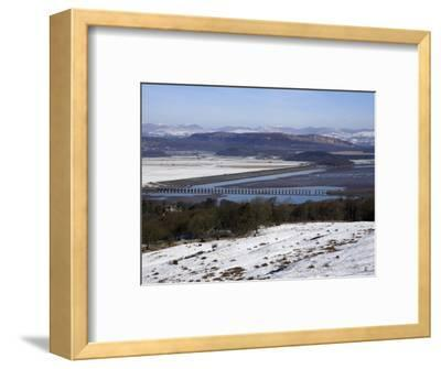 View of Lakeland Fells and Kent Estuary from Arnside Knott in Snow, Cumbria, England