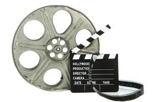 Movie Clapper Board With Film Reel On White Background by Steve Collender
