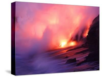 Molten Lava Pours into the Sea Off the Southeast Coast of Kilauea
