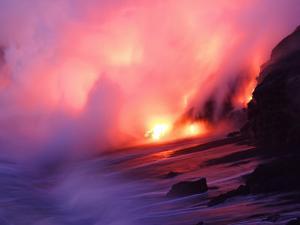 Molten Lava Pours into the Sea Off the Southeast Coast of Kilauea by Steve & Donna O'Meara