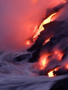 Steam Fills the Air as Water Meets Lava Flow by Steve & Donna O'Meara
