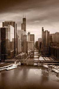 Chicago City View Afternoon BW by Steve Gadomski