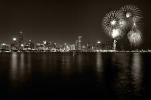 Chicago Lakefront Skyline With Fireworks BW by Steve Gadomski