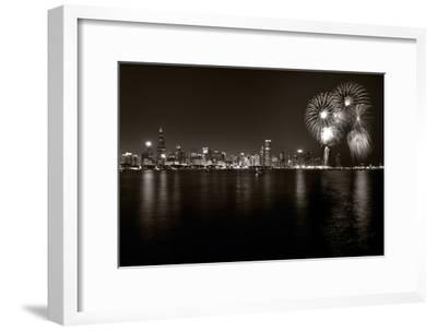 Chicago Lakefront Skyline With Fireworks BW