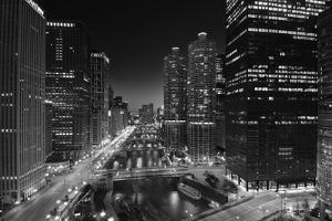 Chicago River Lights BW by Steve Gadomski