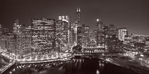 Chicago River Panorama BW by Steve Gadomski