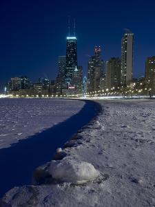 Chicago Skyline At North Ave Beach, Winter by Steve Gadomski