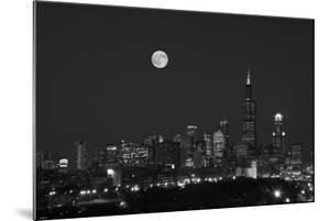 Chicago Skyline & Full Moon In Black & White by Steve Gadomski