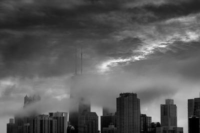 Chicago Skyline Storm BW by Steve Gadomski