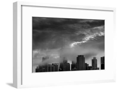 Chicago Skyline Storm BW