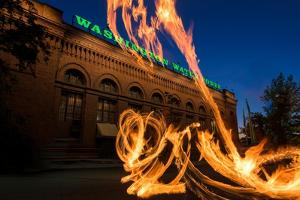 Fire Dancers In Spokane WA by Steve Gadomski