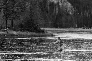 Fly Fishing Yellowstone WY B W by Steve Gadomski
