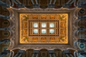 Great Hall Ceiling Library Of Congress by Steve Gadomski