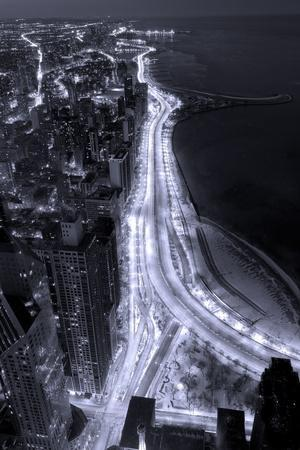 Lake Shore Drive Aerial Black White