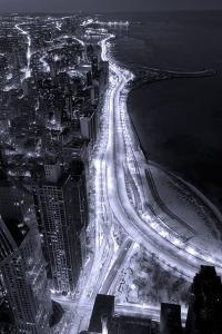 Lake Shore Drive Aerial Black White by Steve Gadomski
