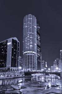 Marina City on the Chicago River BW by Steve Gadomski