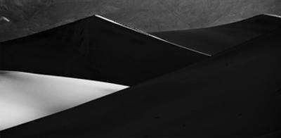 Sand Dunes Panorama in Black & White, Death Valley by Steve Gadomski