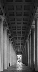 Soldier Field Colonnade Chicago BW by Steve Gadomski