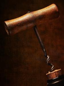 Old-Fashioned Corkscrew Uncorking Bottle by Steve Lupton