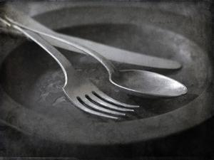 Old Pewter Flatware on an Old Pewter Plate by Steve Lupton