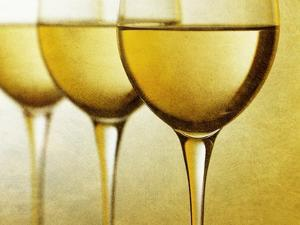 Three Stemmed Gasses of White Wine by Steve Lupton