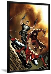 Avenging Spider-Man No.6 Cover: Spider-Man, Daredevil, and Punisher Jumping by Steve MCNiven