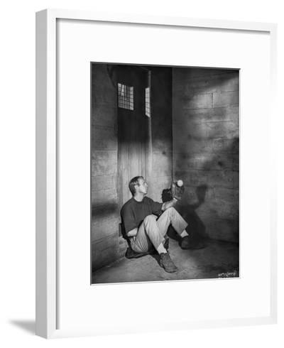 Steve McQueen sitting at the Corner Scene Excerpt from Film in Black and White-Lothar Winkler-Framed Art Print