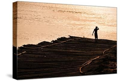 A Bamboo Raft Sways in the Tidal Flats of the Hooghly Rive
