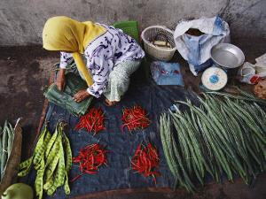 A Woman Sells Vegetables at an Open-Air Market in Malaysia by Steve Raymer