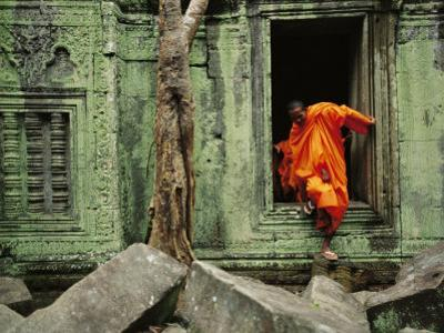 Angkor Wat Temple with Monk, Siem Reap, Cambodia by Steve Raymer