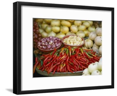 Close View of Chili Peppers and Other Vegetables at a Food Market