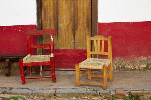Mexico, Jalisco, San Sebastian del Oeste. Rustic Door and Chairs by Steve Ross