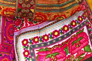 Mexico, Jalisco. Textiles for Sale at Street Market by Steve Ross