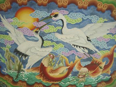 Ceiling Mural of Cranes and Catfish, Nankunshen Temple, Peimen, Taiwan