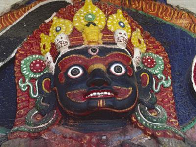 Close-up of Statue of Kalbairab at a Hindu Shrine, Katmandu, Nepal