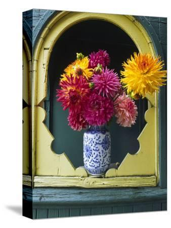 Dahlia Flowers in Vase, Ornate Window Frame, Bellingham, Washington, USA