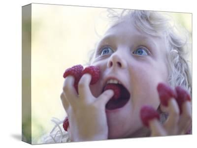 Girl Eating Raspberries, Bellingham, Washington, USA