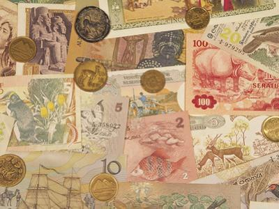 Montage of Coins and Paper Money